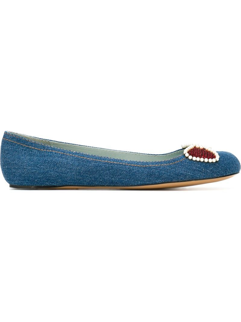 'caroline' Ballerinas, Women's, Size: 39, Blue - secondary colour: true red; predominant colour: denim; occasions: casual, creative work; material: fabric; heel height: flat; embellishment: sequins; toe: round toe; style: ballerinas / pumps; finish: plain; pattern: plain; season: s/s 2016; wardrobe: highlight