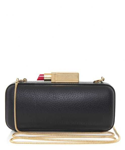 Carrie Clutch Bag - secondary colour: gold; predominant colour: black; occasions: evening; type of pattern: standard; style: clutch; length: across body/long; size: standard; material: leather; pattern: plain; finish: plain; embellishment: chain/metal; season: s/s 2016; wardrobe: event