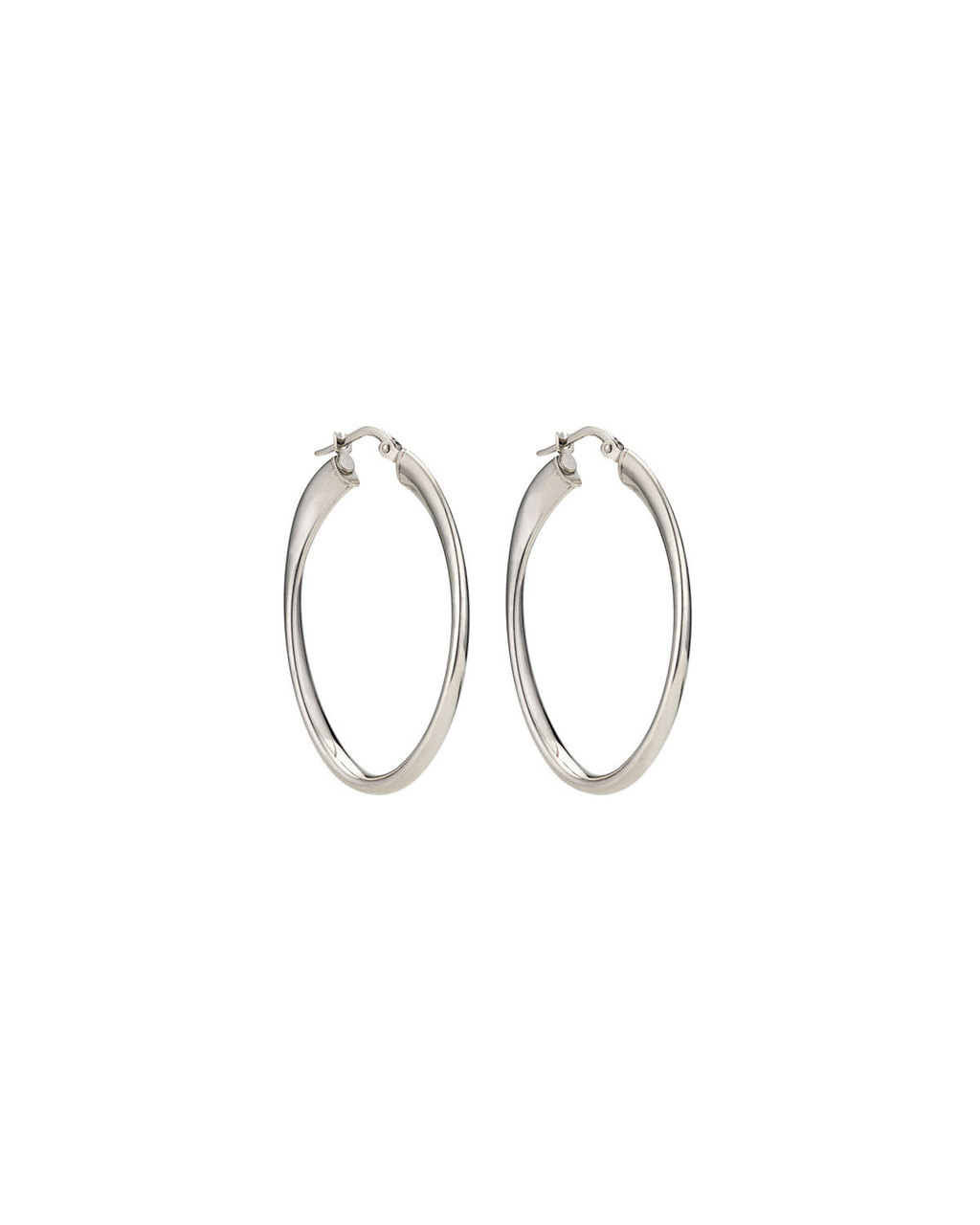 Sterling Silver Oval Hoops - predominant colour: silver; occasions: evening; style: hoop; length: long; size: standard; material: chain/metal; fastening: pierced; finish: metallic; season: s/s 2016; wardrobe: event