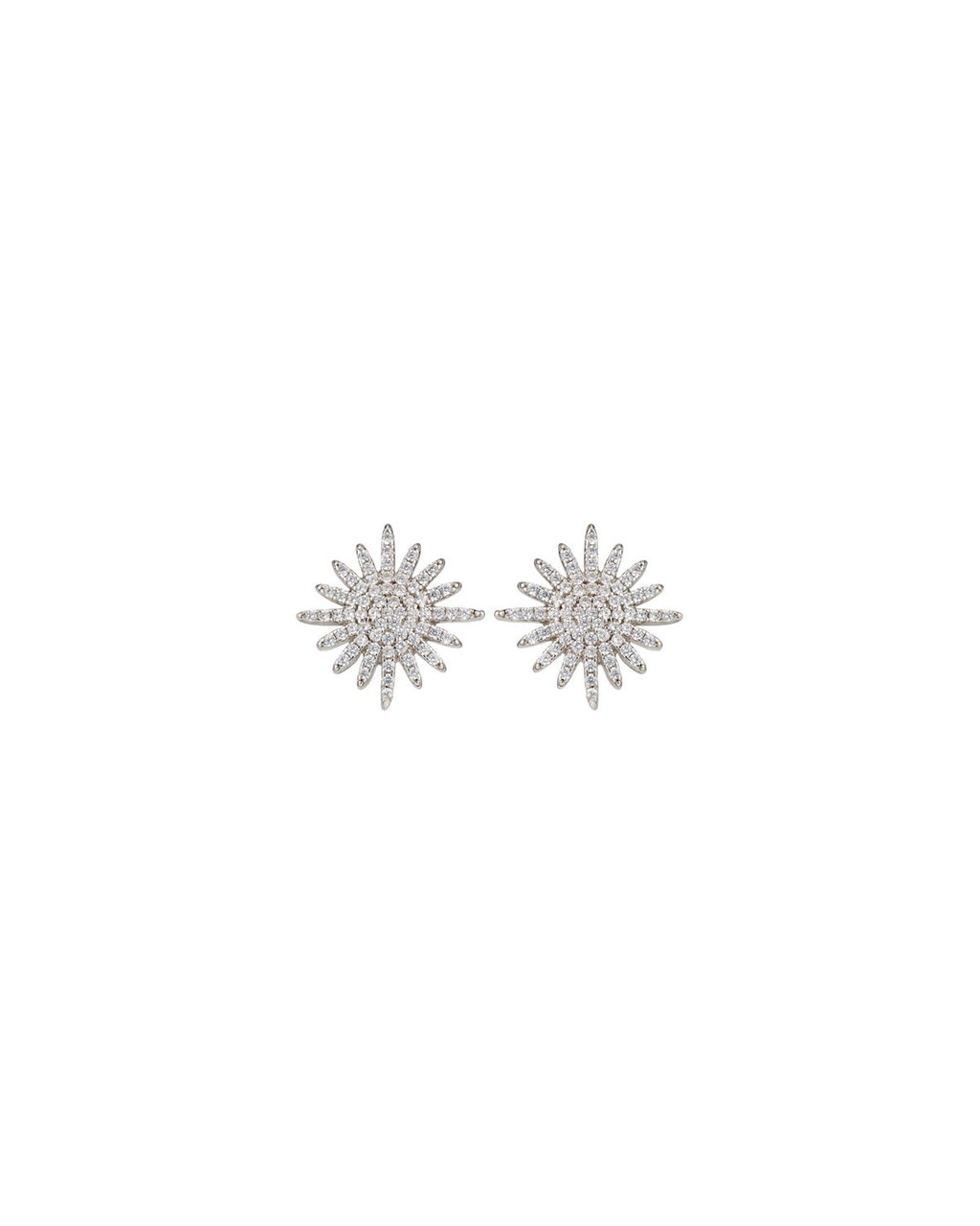 Cubic Zirconia Starburst Studs - predominant colour: silver; occasions: evening, occasion; style: stud; length: short; size: standard; material: chain/metal; fastening: pierced; finish: metallic; embellishment: crystals/glass; season: s/s 2016; wardrobe: event