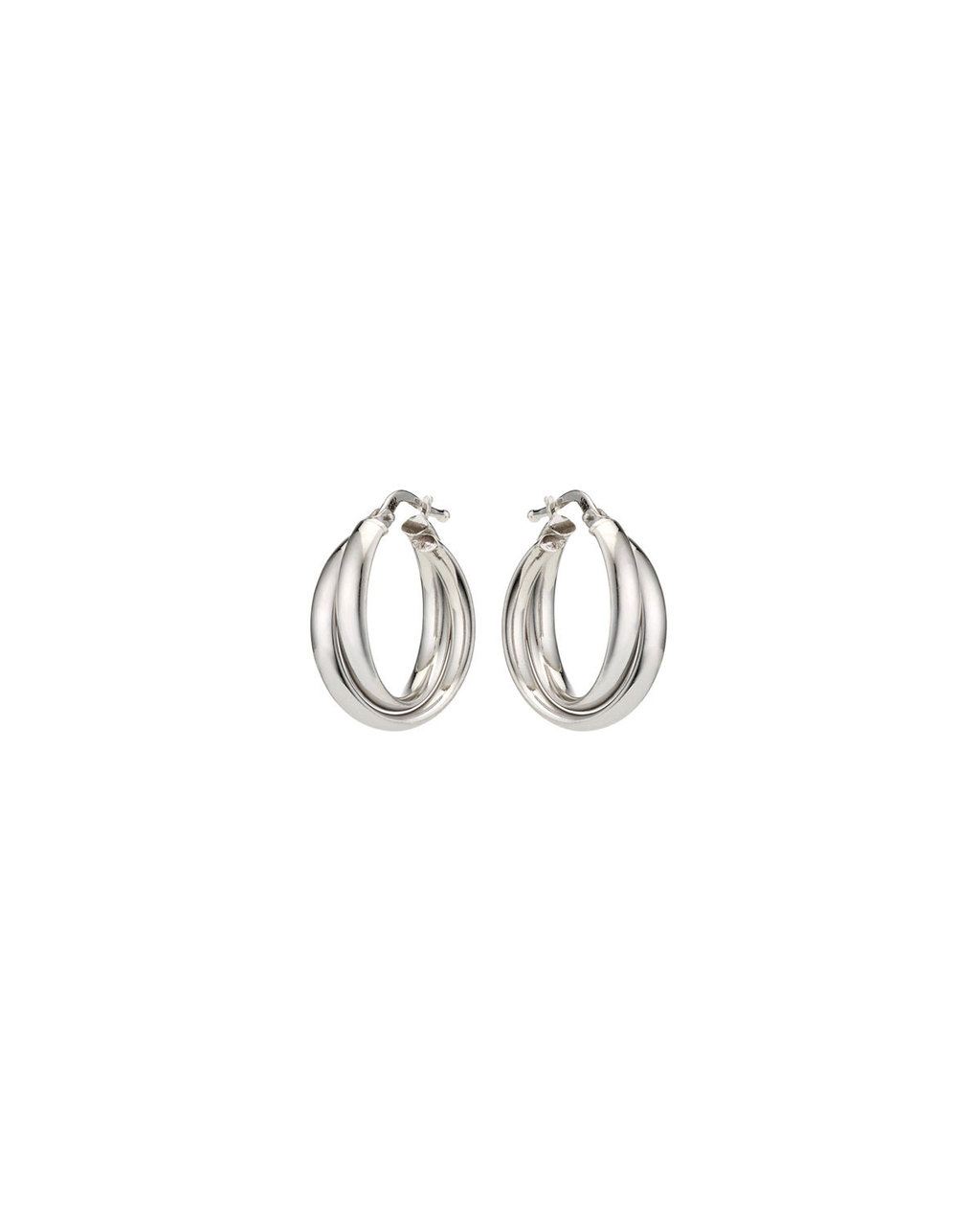 Sterling Silver Double Wrap Hoops - predominant colour: silver; occasions: evening; style: hoop; length: long; size: standard; material: chain/metal; fastening: pierced; finish: metallic; season: s/s 2016; wardrobe: event
