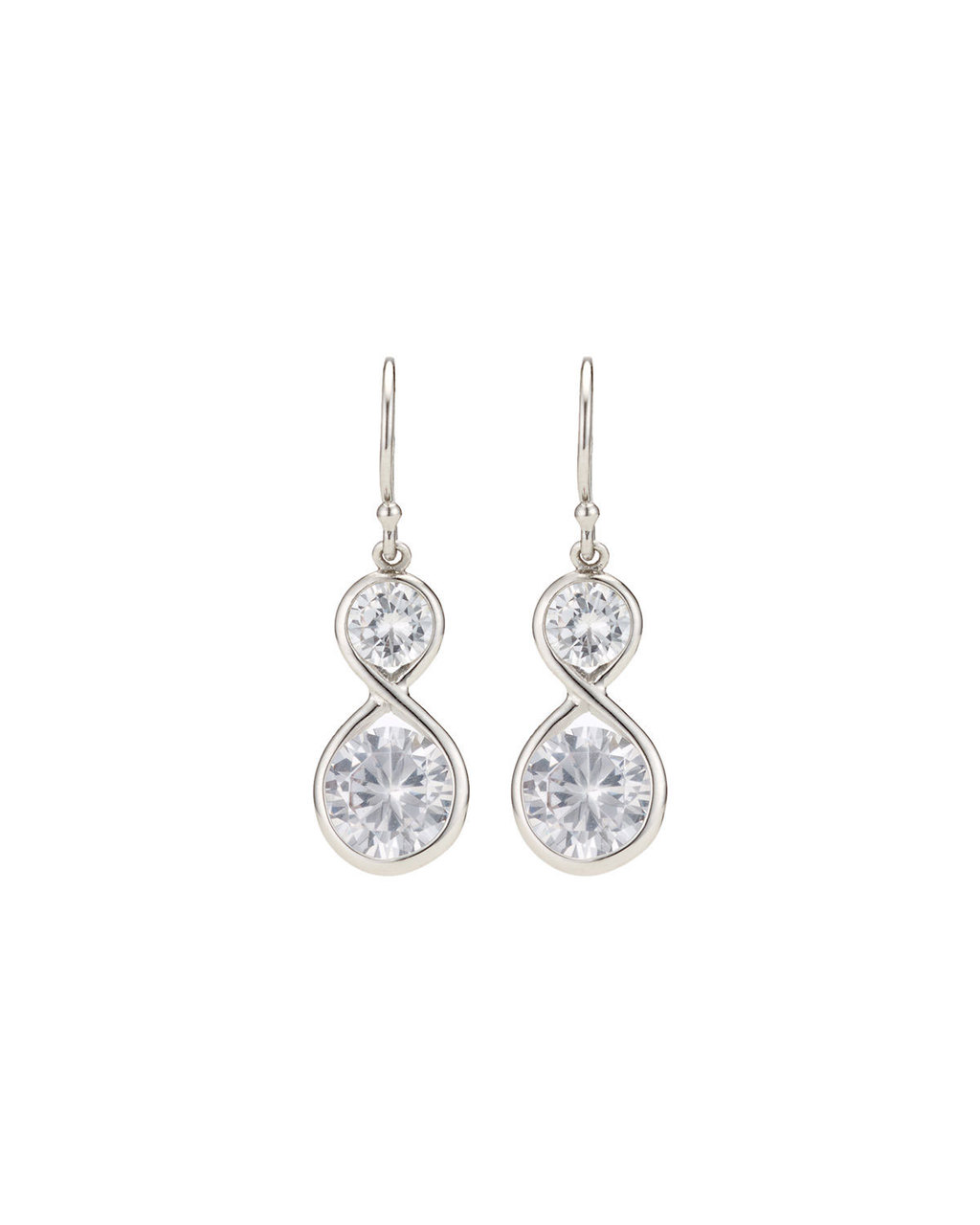 Cubic Zirconia Double Drop Earrings - predominant colour: silver; occasions: evening, occasion; style: drop; length: long; size: standard; material: chain/metal; fastening: pierced; finish: metallic; embellishment: crystals/glass; season: s/s 2016; wardrobe: event