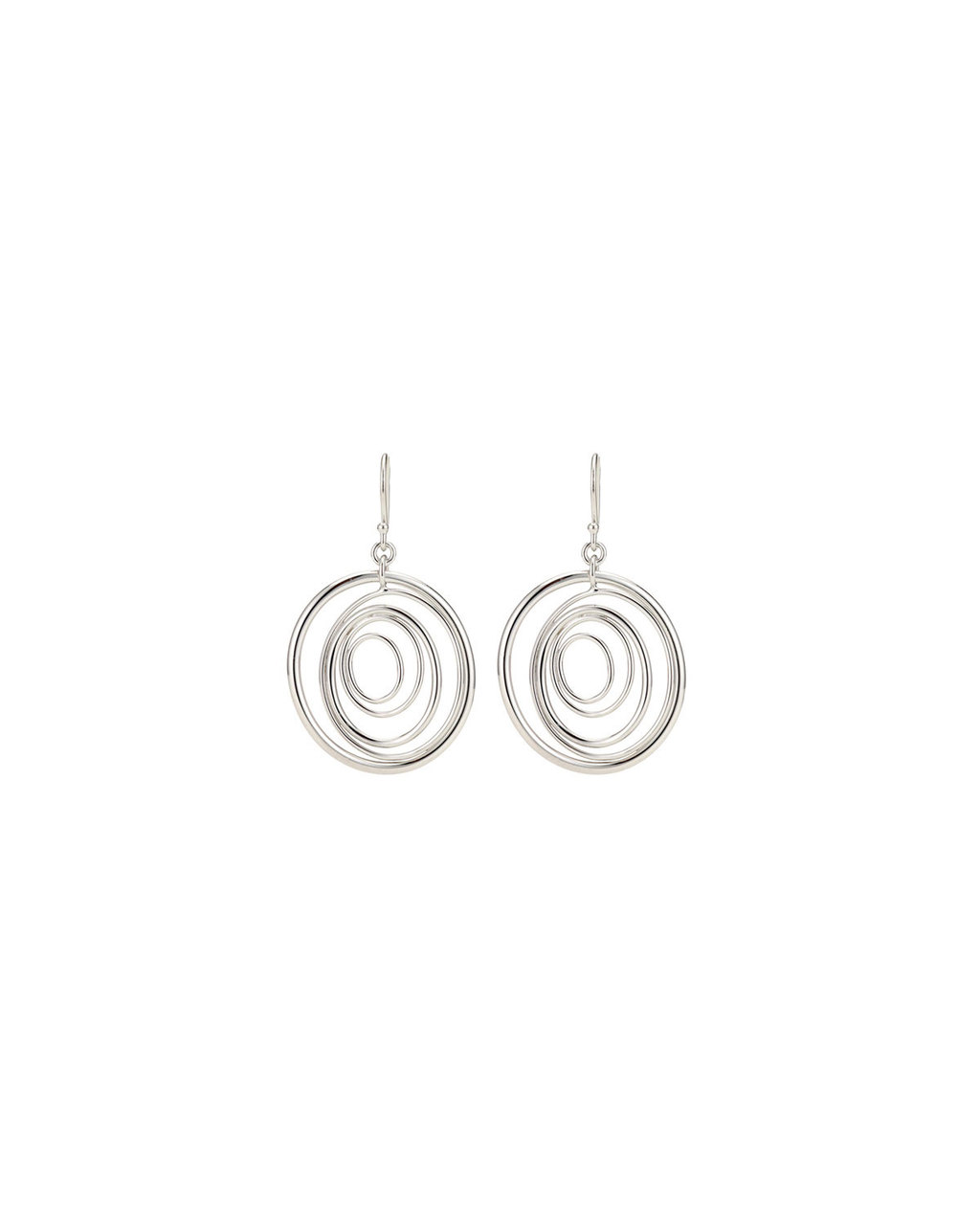 Sterling Silver Multi Ring Earrings - predominant colour: silver; occasions: evening, occasion; style: drop; length: long; size: large/oversized; material: chain/metal; fastening: pierced; finish: metallic; season: s/s 2016