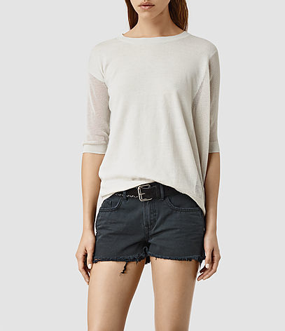 Cast Jumper - neckline: round neck; pattern: plain; style: standard; predominant colour: ivory/cream; occasions: casual, creative work; length: standard; fibres: cotton - mix; fit: loose; sleeve length: 3/4 length; sleeve style: standard; texture group: knits/crochet; pattern type: knitted - fine stitch; season: s/s 2016; wardrobe: basic
