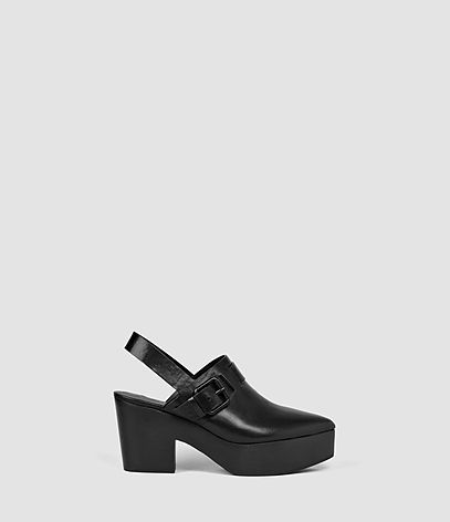 Gothenberg Shoe - predominant colour: black; occasions: casual, evening, creative work; material: leather; heel height: high; embellishment: buckles; heel: block; toe: pointed toe; finish: plain; pattern: plain; shoe detail: platform; style: clogs; season: s/s 2016; wardrobe: highlight