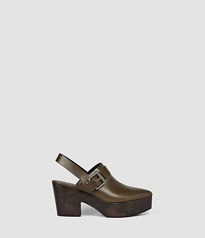 Gothenberg Shoe - predominant colour: khaki; occasions: casual; material: leather; heel height: mid; embellishment: buckles; heel: block; toe: pointed toe; finish: plain; pattern: plain; shoe detail: platform; style: clogs; season: s/s 2016