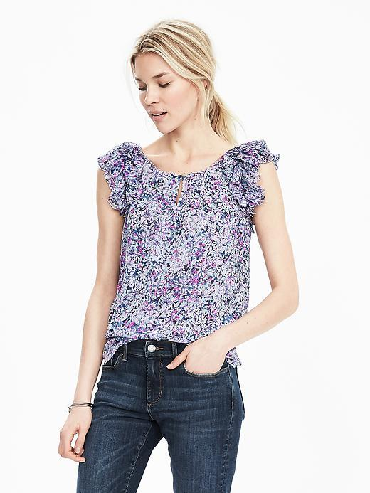 Ruffle Sleeve Print Keyhole Top Hot Pink Br F00 - neckline: round neck; sleeve style: sleeveless; length: below the bottom; secondary colour: ivory/cream; predominant colour: navy; occasions: casual, creative work; style: top; fibres: polyester/polyamide - 100%; fit: straight cut; sleeve length: sleeveless; pattern type: fabric; pattern size: standard; pattern: patterned/print; texture group: other - light to midweight; multicoloured: multicoloured; season: s/s 2016; wardrobe: highlight