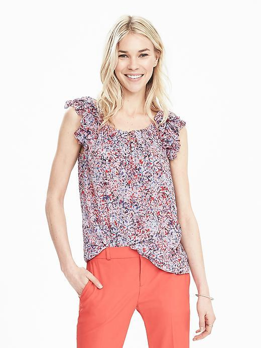 Ruffle Sleeve Print Keyhole Top Red Glow - neckline: round neck; sleeve style: capped; predominant colour: pink; secondary colour: lilac; occasions: casual; length: standard; style: top; fibres: polyester/polyamide - 100%; fit: body skimming; sleeve length: sleeveless; pattern type: fabric; pattern: florals; texture group: other - light to midweight; multicoloured: multicoloured; season: s/s 2016; wardrobe: highlight