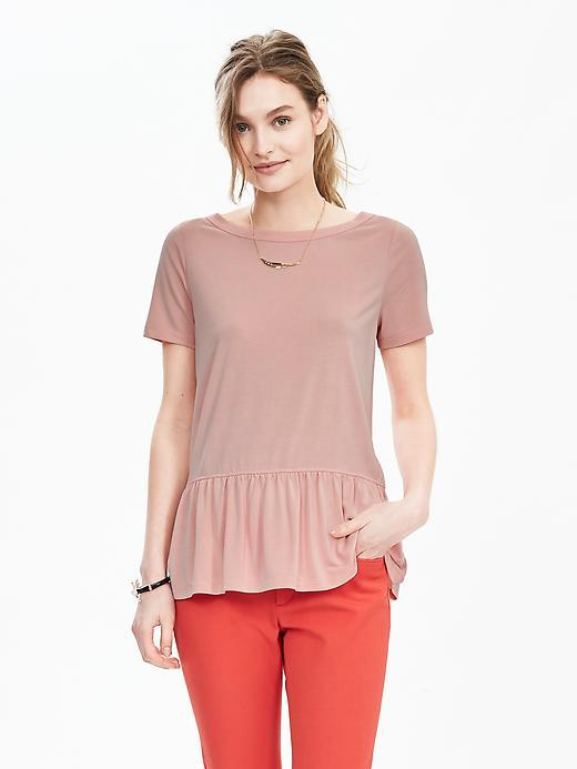 Short Sleeve Peplum Top Coral Peach - neckline: slash/boat neckline; pattern: plain; length: below the bottom; waist detail: peplum waist detail; predominant colour: pink; occasions: casual, creative work; style: top; fit: body skimming; sleeve length: short sleeve; sleeve style: standard; pattern type: fabric; texture group: jersey - stretchy/drapey; fibres: viscose/rayon - mix; season: s/s 2016; wardrobe: highlight