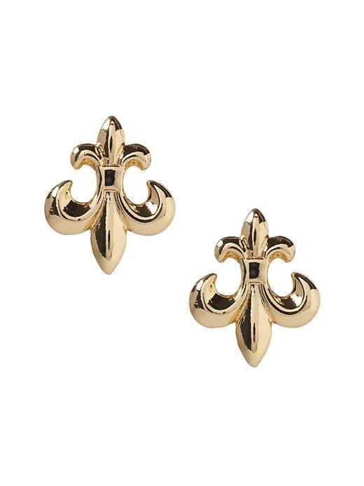 Fleur De Lis Stud Earring Gold - predominant colour: gold; occasions: casual, creative work; style: stud; length: short; size: small/fine; material: chain/metal; fastening: pierced; finish: metallic; season: s/s 2016; wardrobe: basic