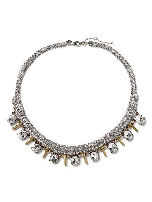 Regal Stick Necklace Clear Crystal - predominant colour: silver; occasions: evening, occasion; style: choker/collar/torque; length: short; size: standard; material: chain/metal; finish: plain; embellishment: crystals/glass; secondary colour: clear; season: s/s 2016; wardrobe: event
