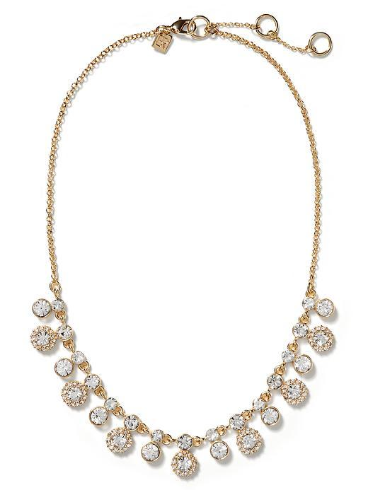 Regal Crystal Necklace Gold - predominant colour: gold; occasions: evening, occasion; length: mid; size: large/oversized; material: chain/metal; finish: plain; embellishment: crystals/glass; secondary colour: clear; style: bib/statement; season: s/s 2016; wardrobe: event