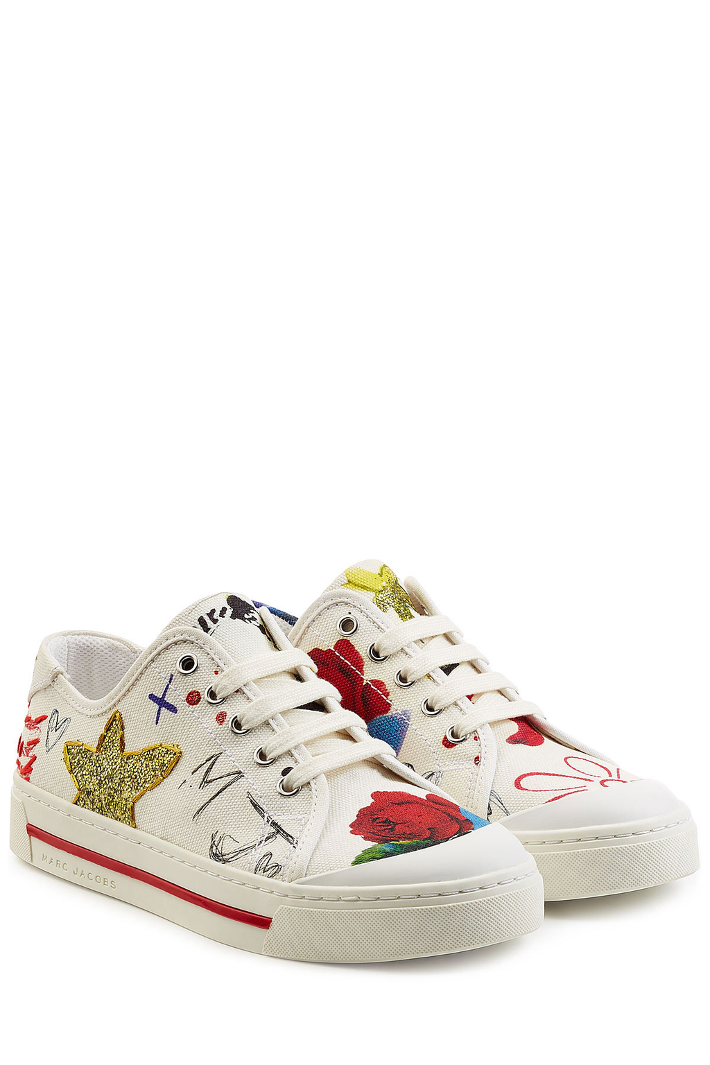 Printed Sneakers White - predominant colour: white; secondary colour: true red; occasions: casual; material: leather; heel height: flat; embellishment: embroidered; toe: round toe; style: trainers; finish: plain; pattern: patterned/print; multicoloured: multicoloured; season: s/s 2016; wardrobe: highlight