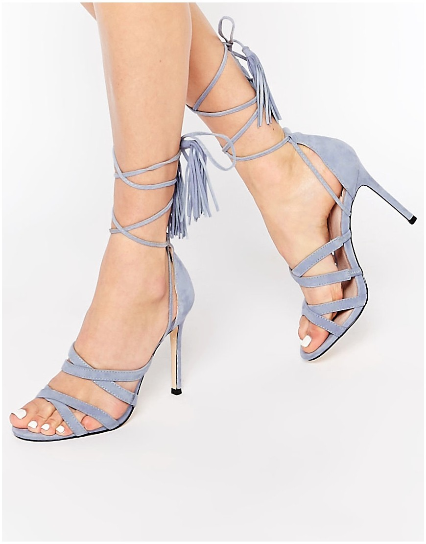 Daft Pale Blue Suede Ghillie Tie Up Heeled Sandals Pale Blue - predominant colour: pale blue; occasions: evening, occasion; material: suede; heel height: high; embellishment: tassels; ankle detail: ankle tie; heel: stiletto; toe: open toe/peeptoe; style: standard; finish: plain; pattern: plain; season: s/s 2016; wardrobe: event