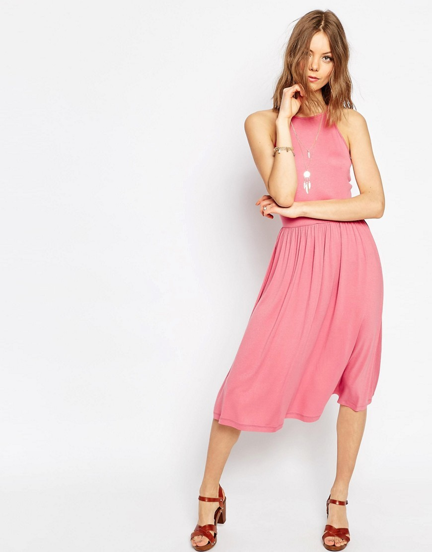 Empire Seam Midi Dress Pink - length: below the knee; pattern: plain; sleeve style: sleeveless; predominant colour: pink; occasions: casual; fit: fitted at waist & bust; style: fit & flare; fibres: viscose/rayon - stretch; neckline: crew; sleeve length: sleeveless; pattern type: fabric; texture group: jersey - stretchy/drapey; season: s/s 2016; wardrobe: highlight
