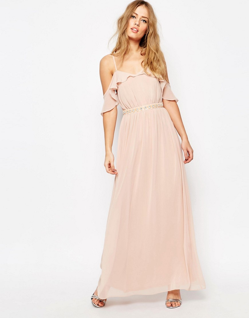Cold Shoulder Maxi Dress With Embellished Waist Nude - neckline: off the shoulder; sleeve style: capped; pattern: plain; style: maxi dress; length: ankle length; predominant colour: blush; occasions: evening; fit: body skimming; fibres: polyester/polyamide - 100%; sleeve length: short sleeve; texture group: sheer fabrics/chiffon/organza etc.; bust detail: tiers/frills/bulky drapes/pleats; pattern type: fabric; season: s/s 2016