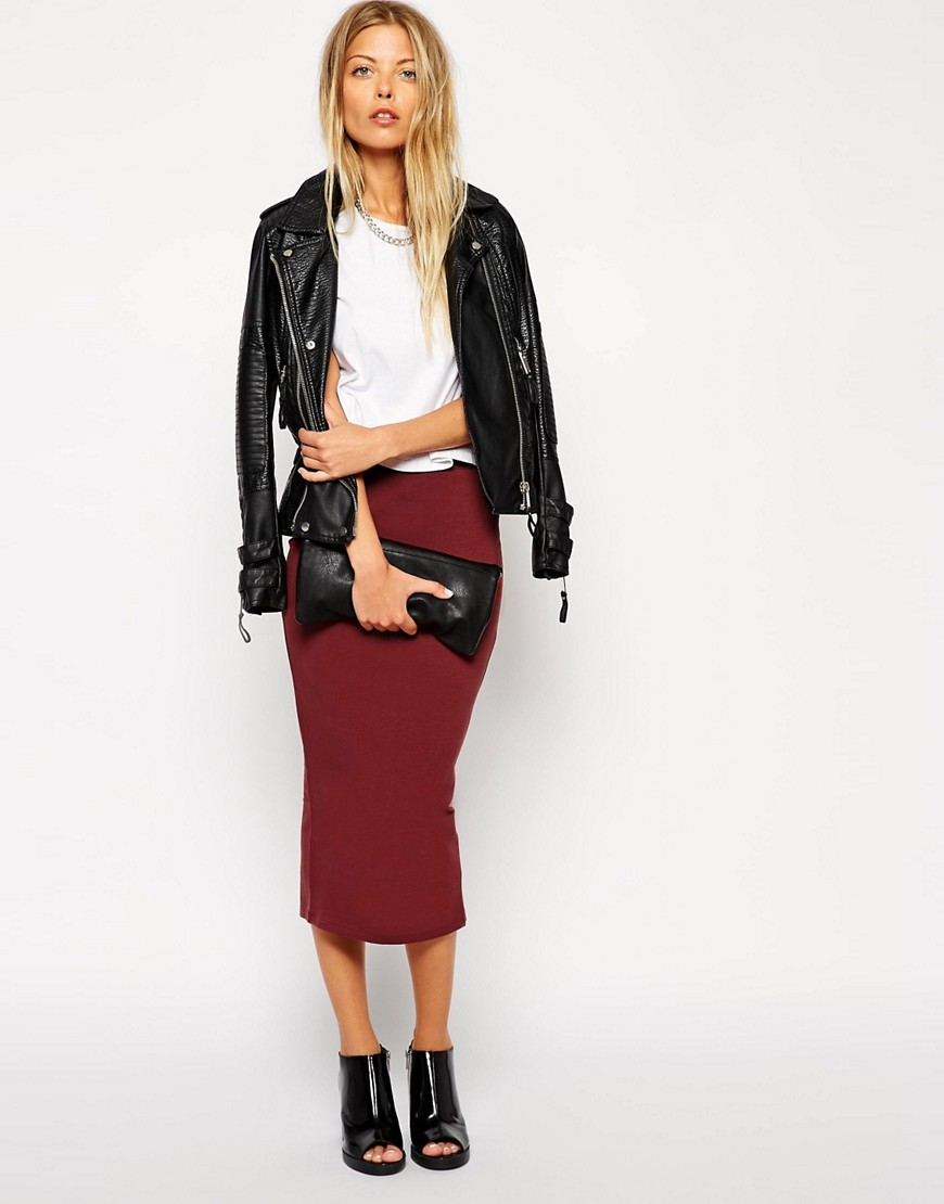 Midi Pencil Skirt In Jersey Burgundy - length: calf length; pattern: plain; style: pencil; fit: tight; waist: mid/regular rise; predominant colour: burgundy; occasions: casual; fibres: cotton - stretch; texture group: jersey - clingy; pattern type: fabric; season: s/s 2016; wardrobe: highlight