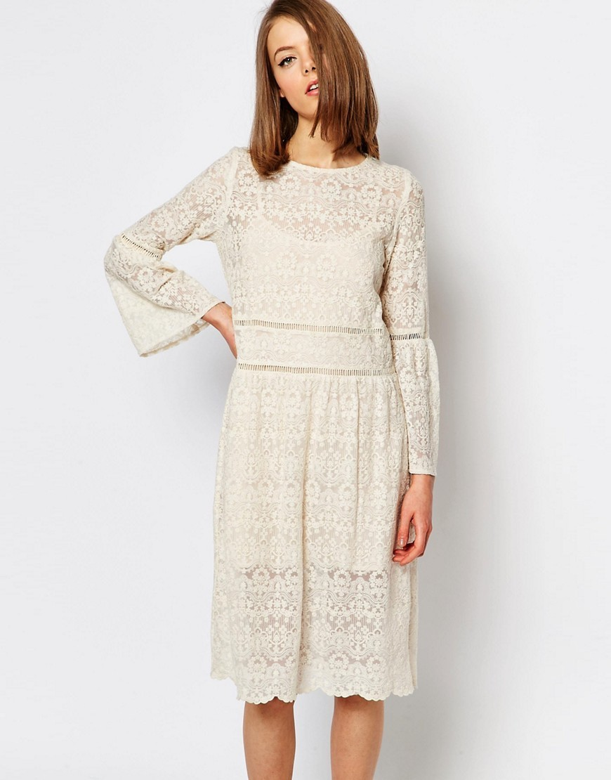 Lace Dress With Flared Sleeves Cream - length: below the knee; pattern: plain; sleeve style: kimono; predominant colour: ivory/cream; occasions: evening; fit: fitted at waist & bust; style: fit & flare; fibres: cotton - mix; neckline: crew; sleeve length: long sleeve; texture group: lace; pattern type: fabric; pattern size: standard; season: s/s 2016