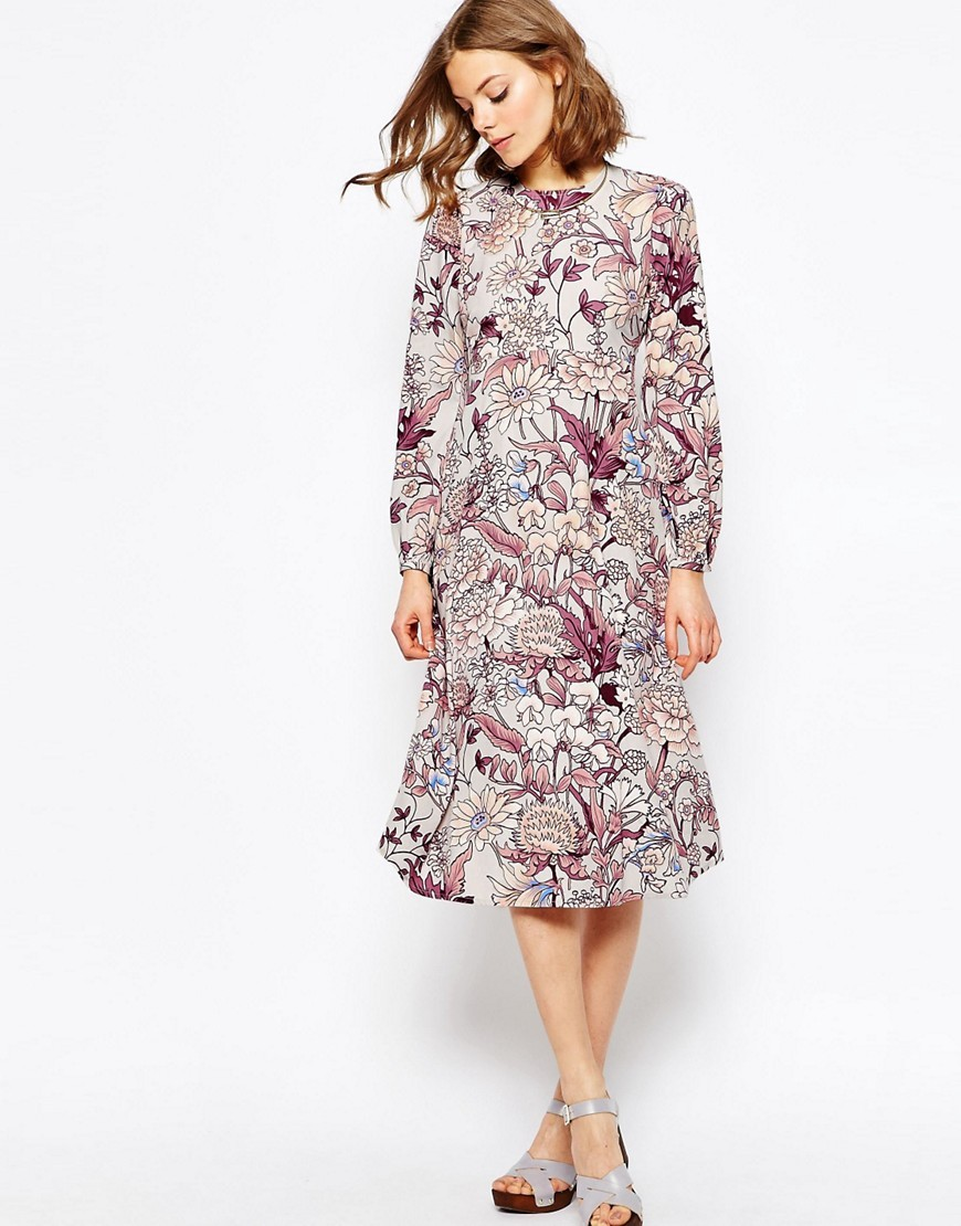 Printed Column Midi Dress In Floral Print Multi - style: shift; length: calf length; predominant colour: ivory/cream; secondary colour: burgundy; occasions: casual; fit: body skimming; fibres: polyester/polyamide - 100%; neckline: crew; sleeve length: long sleeve; sleeve style: standard; pattern type: fabric; pattern: florals; texture group: other - light to midweight; multicoloured: multicoloured; season: s/s 2016; wardrobe: highlight