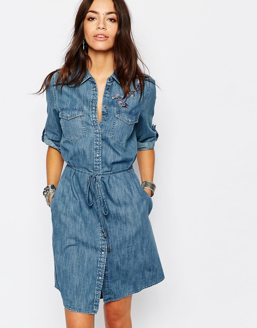 Embrodiered Denim Shirt Dress Blue Denim - style: shirt; neckline: shirt collar/peter pan/zip with opening; pattern: plain; waist detail: belted waist/tie at waist/drawstring; predominant colour: denim; occasions: casual; length: just above the knee; fit: body skimming; fibres: cotton - 100%; sleeve length: half sleeve; sleeve style: standard; texture group: denim; pattern type: fabric; season: s/s 2016; wardrobe: basic