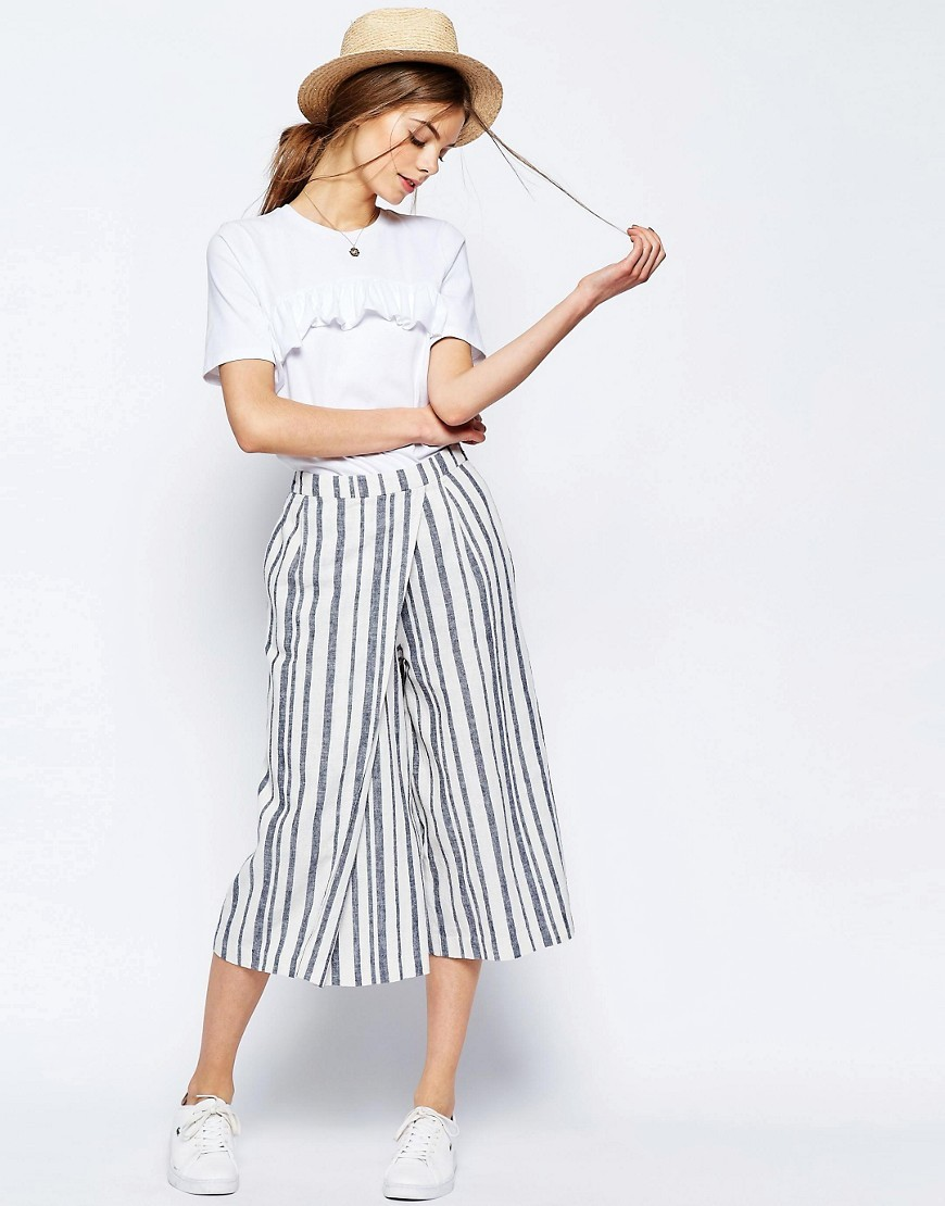 Wrap Front Stripe Culottes Multi - pattern: vertical stripes; style: harem/slouch; waist: high rise; secondary colour: white; predominant colour: navy; occasions: casual; length: calf length; fibres: cotton - mix; hip detail: subtle/flattering hip detail; waist detail: feature waist detail; fit: baggy; pattern type: fabric; texture group: woven light midweight; pattern size: standard (bottom); season: s/s 2016; wardrobe: highlight