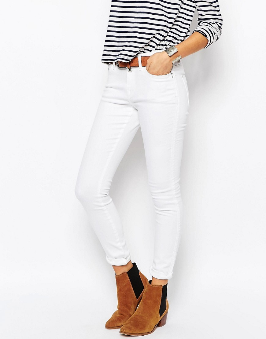 High Waisted Skinny Jeans White - style: skinny leg; length: standard; pattern: plain; pocket detail: traditional 5 pocket; waist: mid/regular rise; predominant colour: white; occasions: casual; fibres: cotton - stretch; texture group: denim; pattern type: fabric; season: s/s 2016; wardrobe: highlight