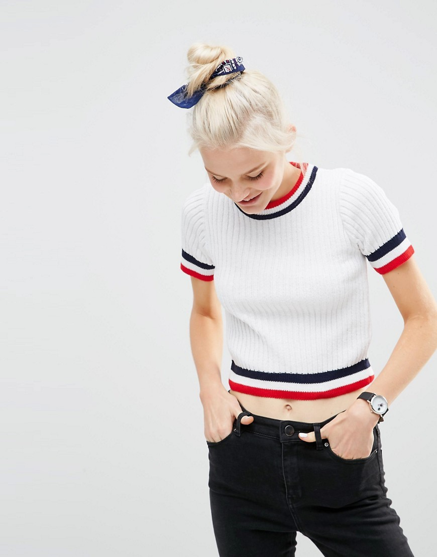 Jumper In Rib With Short Sleeves And Tipping White - pattern: striped; length: cropped; style: standard; predominant colour: white; secondary colour: navy; occasions: casual; fibres: acrylic - mix; fit: standard fit; neckline: crew; sleeve length: short sleeve; sleeve style: standard; texture group: knits/crochet; pattern type: knitted - other; pattern size: standard; multicoloured: multicoloured; season: s/s 2016; wardrobe: highlight