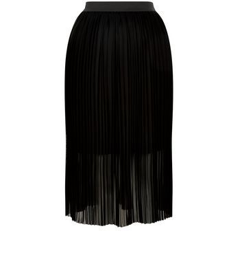 Black Elasticated Waist Pleated Midi Skirt - length: below the knee; pattern: plain; fit: body skimming; style: pleated; waist: mid/regular rise; predominant colour: black; occasions: evening; fibres: polyester/polyamide - 100%; texture group: sheer fabrics/chiffon/organza etc.; pattern type: fabric; season: s/s 2016; wardrobe: event