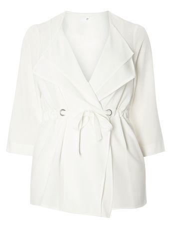 Ivory Soft Tie Waist Jacket - pattern: plain; style: belted jacket; fit: slim fit; collar: standard lapel/rever collar; predominant colour: white; occasions: casual; length: standard; fibres: polyester/polyamide - stretch; waist detail: belted waist/tie at waist/drawstring; sleeve length: 3/4 length; sleeve style: standard; texture group: crepes; collar break: medium; pattern type: fabric; season: s/s 2016; wardrobe: basic