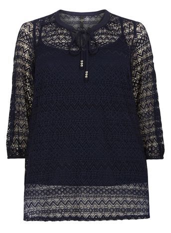 Navy Blue Tie Neck Lace Tunic - neckline: pussy bow; style: blouse; predominant colour: navy; occasions: casual, creative work; length: standard; fit: straight cut; sleeve length: 3/4 length; sleeve style: standard; texture group: lace; pattern type: fabric; pattern size: standard; pattern: patterned/print; fibres: viscose/rayon - mix; season: s/s 2016; wardrobe: highlight