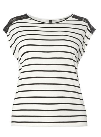 Black And White Stripe Top - sleeve style: capped; pattern: horizontal stripes; predominant colour: white; secondary colour: black; occasions: casual; length: standard; style: top; fibres: viscose/rayon - 100%; fit: body skimming; neckline: crew; sleeve length: short sleeve; pattern type: fabric; texture group: jersey - stretchy/drapey; embellishment: lace; multicoloured: multicoloured; season: s/s 2016