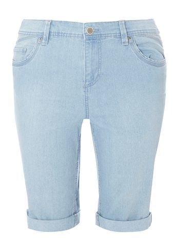 Lightwash Denim Shorts - pattern: plain; pocket detail: traditional 5 pocket; waist: mid/regular rise; predominant colour: pale blue; occasions: casual; fibres: cotton - stretch; texture group: denim; pattern type: fabric; season: s/s 2016; style: denim; length: just above the knee; fit: slim leg; wardrobe: highlight