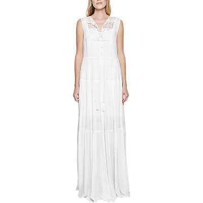 Castaway Lace Maxi Dress, Summer White - neckline: v-neck; pattern: plain; sleeve style: sleeveless; style: maxi dress; bust detail: sheer at bust; predominant colour: white; length: floor length; fit: body skimming; fibres: viscose/rayon - 100%; sleeve length: sleeveless; occasions: holiday; pattern type: fabric; texture group: jersey - stretchy/drapey; embellishment: lace; season: s/s 2016; wardrobe: holiday