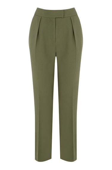 Peg Trouser - pattern: plain; style: peg leg; waist: high rise; predominant colour: khaki; length: ankle length; fibres: polyester/polyamide - 100%; hip detail: front pleats at hip level; waist detail: narrow waistband; texture group: crepes; fit: tapered; pattern type: fabric; occasions: creative work; season: s/s 2016