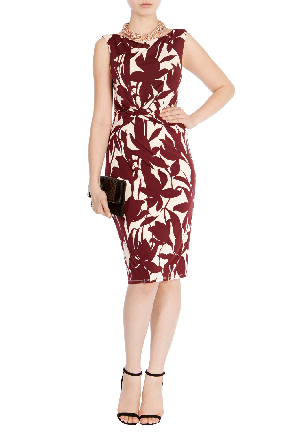 Kepp Print Jamilia Dress - style: shift; length: below the knee; neckline: v-neck; fit: tailored/fitted; sleeve style: sleeveless; secondary colour: white; predominant colour: burgundy; occasions: evening; fibres: polyester/polyamide - 100%; sleeve length: sleeveless; pattern type: fabric; pattern size: big & busy; pattern: florals; texture group: other - light to midweight; season: s/s 2016; wardrobe: event