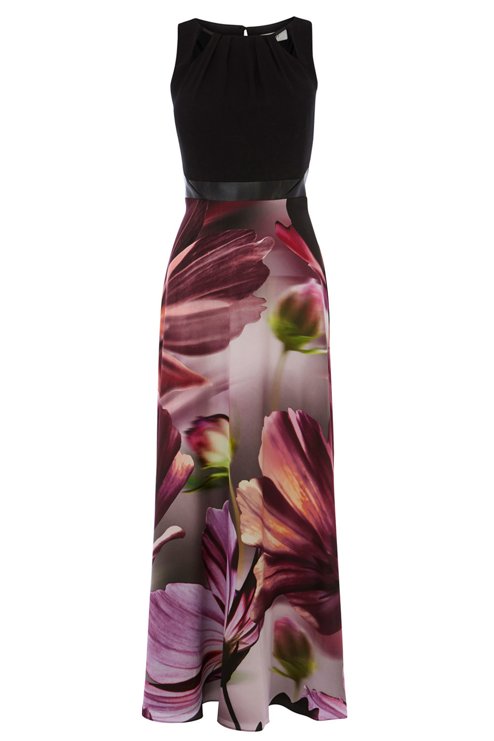 Amalfi Print Adrie Maxi Dress - neckline: round neck; sleeve style: sleeveless; style: maxi dress; predominant colour: purple; secondary colour: black; occasions: evening; length: floor length; fit: fitted at waist & bust; fibres: polyester/polyamide - 100%; sleeve length: sleeveless; texture group: crepes; pattern type: fabric; pattern size: big & busy; pattern: florals; multicoloured: multicoloured; season: s/s 2016; wardrobe: event; embellishment: contrast fabric; embellishment location: top