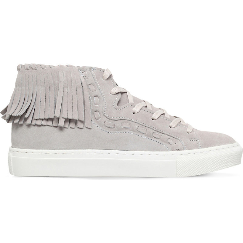 Lakes Suede High Top Trainers, Women's, Eur 40 / 7 Uk Women, Grey - predominant colour: light grey; occasions: casual; material: suede; heel height: flat; heel: block; toe: round toe; boot length: ankle boot; style: high top; finish: plain; pattern: plain; embellishment: fringing; shoe detail: platform; season: s/s 2016; wardrobe: highlight