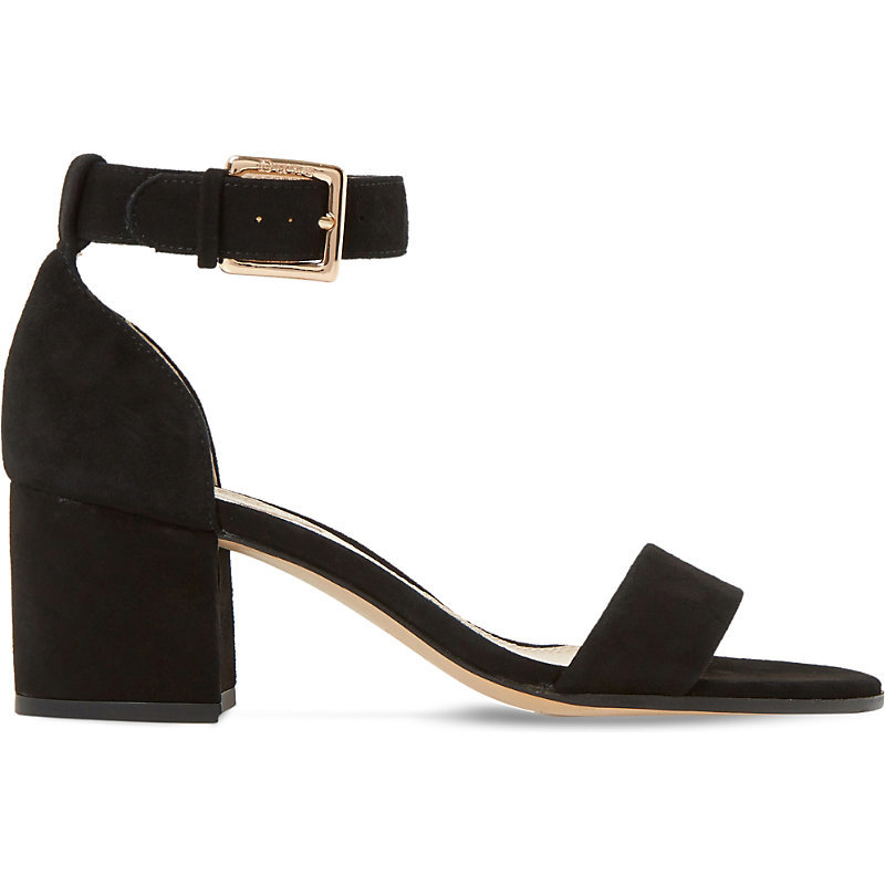 Jaygo Suede Heeled Sandals - predominant colour: black; occasions: evening; material: leather; heel height: mid; ankle detail: ankle strap; heel: block; toe: open toe/peeptoe; style: standard; finish: plain; pattern: plain; season: s/s 2016; wardrobe: event