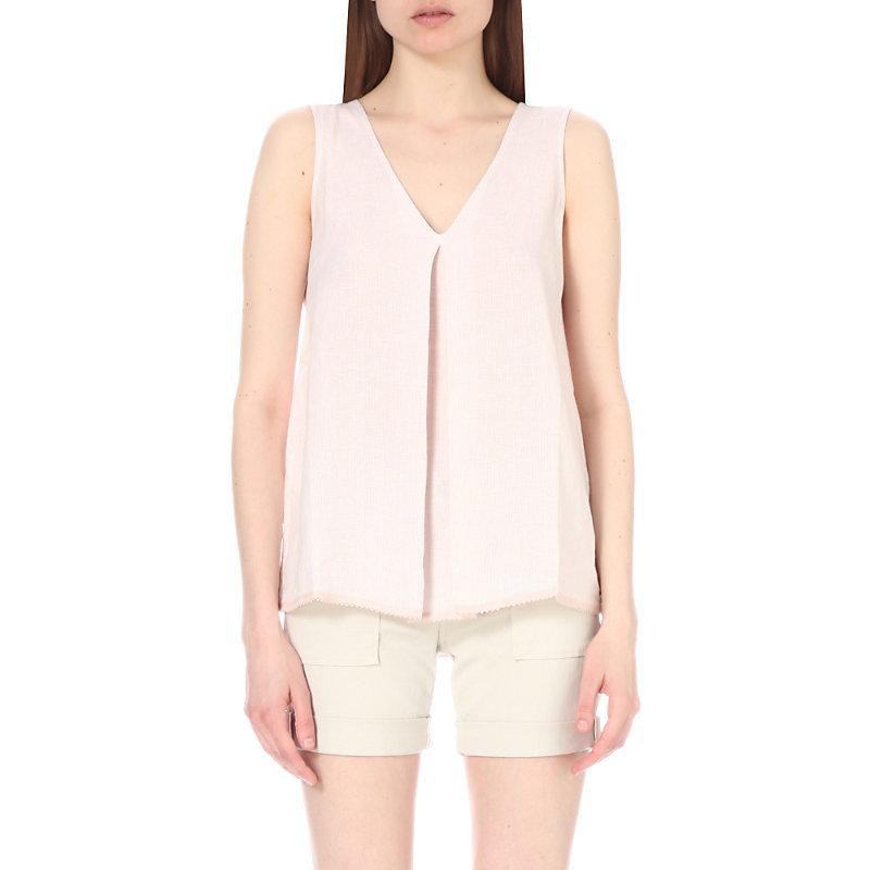 Sleeveless Linen Top, Women's, Pink/Red/Lightpink - neckline: v-neck; pattern: plain; sleeve style: sleeveless; length: below the bottom; predominant colour: pink; occasions: casual; style: top; fibres: linen - 100%; fit: loose; sleeve length: sleeveless; texture group: linen; pattern type: fabric; season: s/s 2016; wardrobe: highlight