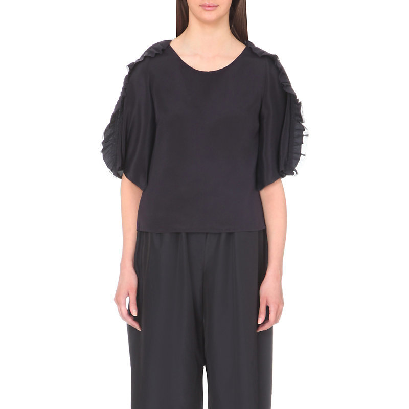 Ruffled Boxy Silk T Shirt, Women's, Dark Grey/Blue - neckline: round neck; pattern: plain; style: t-shirt; predominant colour: charcoal; occasions: casual; length: standard; fibres: silk - 100%; fit: body skimming; shoulder detail: bulky shoulder detail; sleeve length: half sleeve; sleeve style: standard; texture group: silky - light; pattern type: fabric; season: s/s 2016; wardrobe: highlight