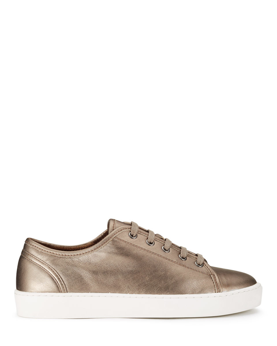 Ayda Leather Trainers - predominant colour: taupe; occasions: casual, activity; material: leather; heel height: flat; toe: round toe; style: trainers; finish: metallic; pattern: plain; shoe detail: platform; season: s/s 2016