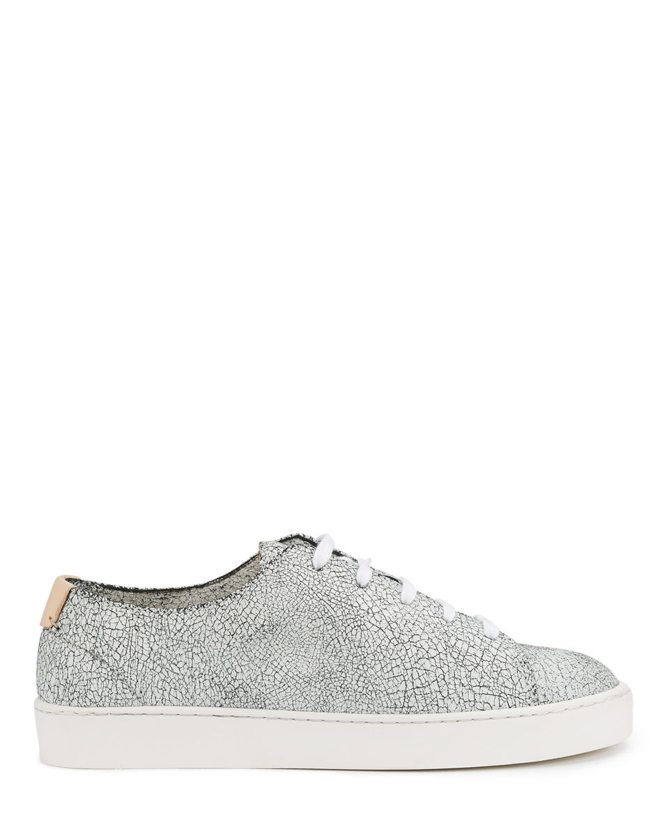 Ayda Crackle Leather Trainers - secondary colour: white; predominant colour: black; occasions: casual, creative work; material: leather; heel height: flat; toe: round toe; style: trainers; finish: plain; pattern: patterned/print; shoe detail: moulded soul; season: s/s 2016; wardrobe: highlight