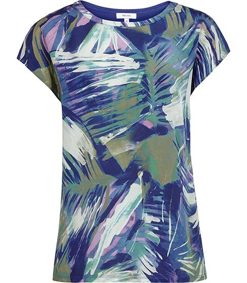 Billie Silk Front T Shirt - neckline: round neck; sleeve style: capped; style: t-shirt; predominant colour: navy; occasions: casual; length: standard; fibres: silk - 100%; fit: body skimming; sleeve length: short sleeve; texture group: silky - light; pattern type: fabric; pattern: patterned/print; pattern size: big & busy (top); multicoloured: multicoloured; season: s/s 2016; wardrobe: highlight