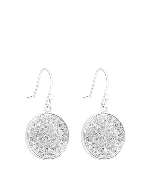 Rhea Embellished Earrings With Crystals From Swarovski - predominant colour: silver; occasions: evening, occasion; style: drop; length: short; size: small/fine; material: chain/metal; fastening: pierced; finish: plain; embellishment: crystals/glass; season: s/s 2016; wardrobe: event
