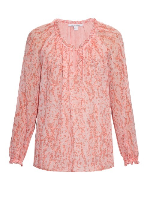 Wynn Blouse - neckline: round neck; style: blouse; predominant colour: pink; occasions: casual, creative work; length: standard; fibres: silk - 100%; fit: body skimming; sleeve length: long sleeve; sleeve style: standard; texture group: sheer fabrics/chiffon/organza etc.; pattern type: fabric; pattern size: standard; pattern: patterned/print; season: s/s 2016; wardrobe: highlight