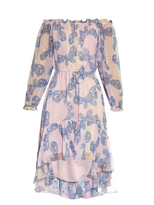 Camila Dress - style: shift; neckline: off the shoulder; waist detail: belted waist/tie at waist/drawstring; predominant colour: blush; secondary colour: denim; length: on the knee; fit: body skimming; fibres: silk - 100%; occasions: occasion; hip detail: subtle/flattering hip detail; sleeve length: long sleeve; sleeve style: standard; texture group: sheer fabrics/chiffon/organza etc.; pattern type: fabric; pattern: patterned/print; season: s/s 2016; wardrobe: event