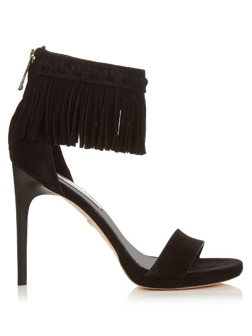 Sian Fringe Sandals - predominant colour: black; occasions: evening, occasion; material: suede; ankle detail: ankle strap; heel: stiletto; toe: open toe/peeptoe; style: standard; finish: plain; pattern: plain; embellishment: fringing; heel height: very high; season: s/s 2016; wardrobe: event