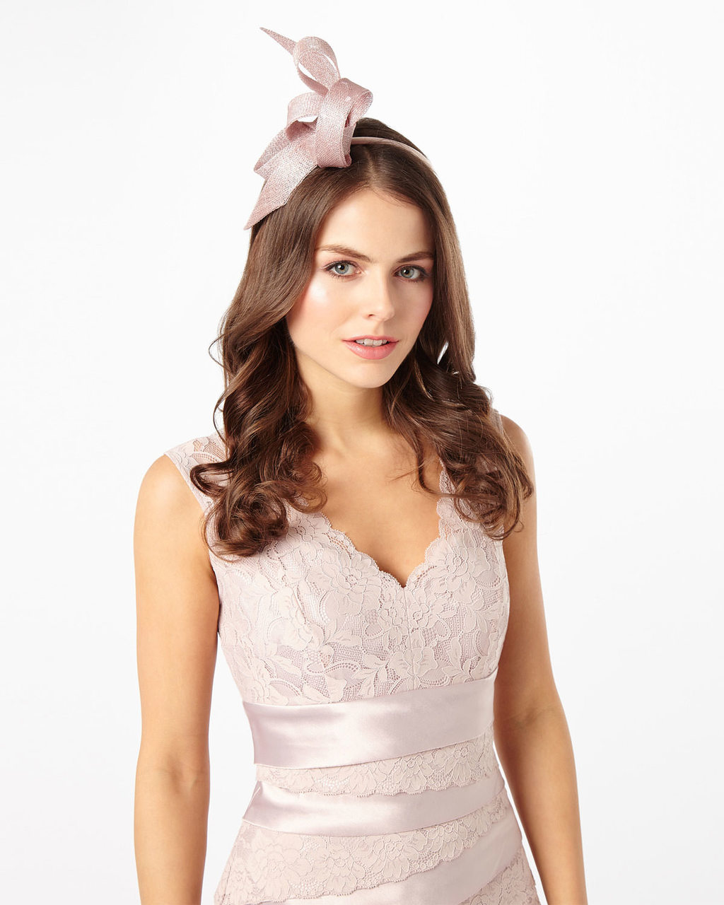 Lindy Fascinator - predominant colour: blush; occasions: occasion; type of pattern: standard; style: fascinator; size: small; material: sinamay; pattern: plain; season: s/s 2016; wardrobe: event