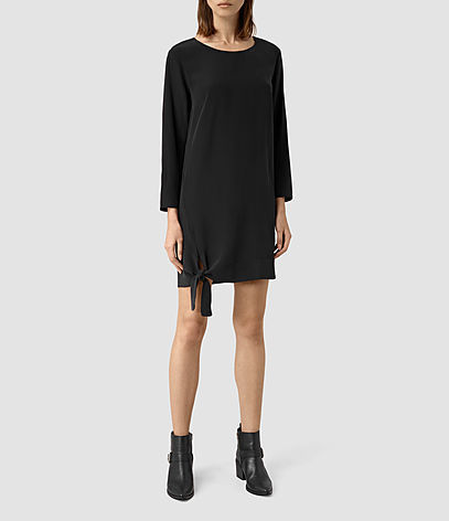 Neely Dress - style: shift; length: mid thigh; pattern: plain; predominant colour: black; occasions: evening; fit: body skimming; fibres: silk - 100%; neckline: crew; sleeve length: long sleeve; sleeve style: standard; pattern type: fabric; texture group: other - light to midweight; season: s/s 2016; wardrobe: event