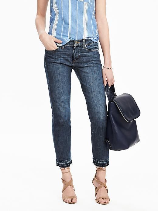 Straight Denim Crop True Blue - style: straight leg; pattern: plain; pocket detail: traditional 5 pocket; waist: mid/regular rise; predominant colour: royal blue; occasions: casual; length: ankle length; fibres: cotton - stretch; jeans detail: whiskering, shading down centre of thigh; texture group: denim; pattern type: fabric; season: s/s 2016